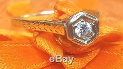 Antique 14k Gold Diamond Engagement Ring Edwardian Victorian Wedding Art Deco