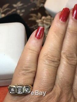 Antique 14k Gold Diamond Ring Band Wedding Anniversary Victorian Edwardian