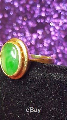 Antique 14k Gold Genuine Green Jade Jadeite Ring Art Deco Gemstone Size 6 1/4