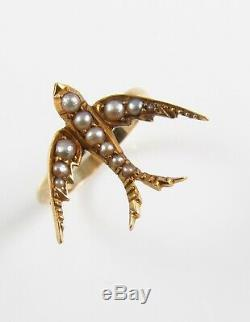 Antique 14k Gold Victorian Edwardian Swallow Bird Pearl Conversion Ring Size 6.5