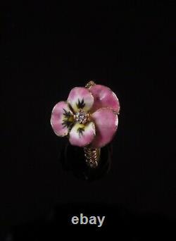 Antique 14k Gold Victorian Pink Enamel & Diamond Pansy Flower Ring Size 3.75