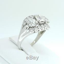 Antique 14k White Gold European Cut 3.2 CTW Diamond 3 Stone Cluster Estate Ring