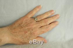 Antique 14k Yellow & White Gold Filigree Diamond Solitaire Ring Size 6-3/4