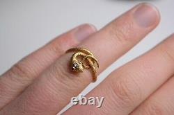 Antique 18 Carat Solid Gold Ruby And Diamond Snake Ring
