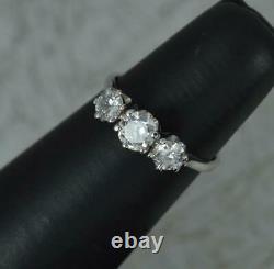 Antique 18 Carat White Gold 1.00ct Old Cut Diamond Trilogy Ring