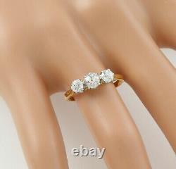 Antique 18Ct Gold And Platinum Trilogy Engagement Diamond Ring 0.96 Carat