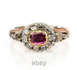 Antique 18K Georgian Ruby and Table Cut Diamond Ring