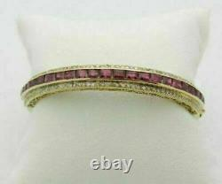 Antique 18K Yellow Gold Over 2.61Cttw Ruby & Round Diamond Bangle 7.5 Bracelet