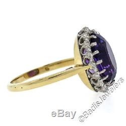 Antique 18K Yellow Gold Platinum Top 4.56ctw Siberian Amethyst Diamond Halo Ring