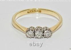 Antique 18ct Gold 0.15ct Diamond Three Stone Ring size M