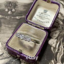 Antique 18ct Gold Platinum 5 Stone Diamond Ring, Edwardian Half Eternity UK M1/2