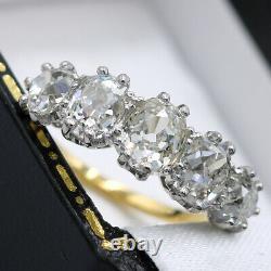 Antique 18ct Yellow Gold & Platinum, Five Stone 2.37ct Old Cut Diamond Ring