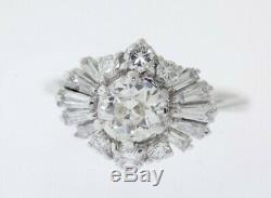 Antique 18k White Gold 1.42ct Old European Cut Ballerina Engagement Ring Size 6