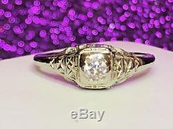 Antique 18k White Gold Genuine Natural Diamond Ring Engagement Wedding Art Deco
