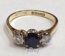 Antique 18k Yellow Gold Diamond & Blue Sapphire Engagement Ring Platinum Set