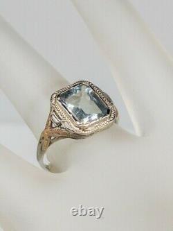Antique 1920 3ct Natural French Cut Aquamarine 14k White Rose Gold Filigree Ring