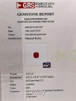 Antique 1920s $25,000 5ct GRS Certified NO HEAT BURMA RUBY Diamond Platinum Ring