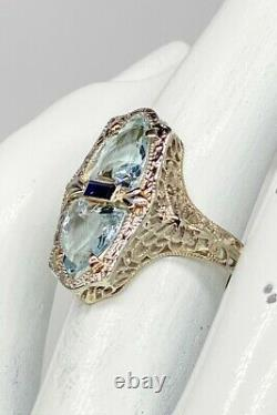 Antique 1920s 3ct Natural Aquamarine Blue Sapphire 14k White Gold Filigree Ring