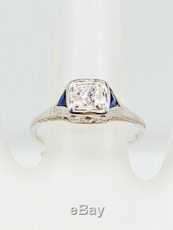 Antique 1920s. 75ct Old Euro Diamond Blue Sapphire 18K White Gold Filigree Ring