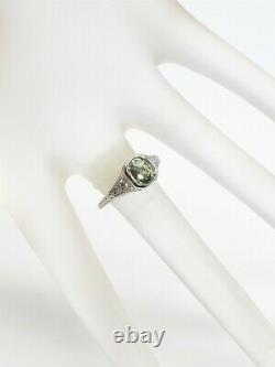 Antique 1920s $9000 1.35ct Natural Alexandrite Diamond Platinum Filigree Ring