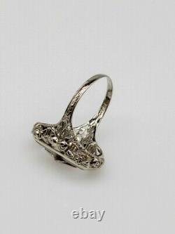 Antique 1920s Camphor Glass Diamond 14k White Gold Filigree Ring