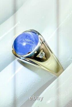 Antique 1940 $6000 7ct Natural Blue STAR Sapphire Diamond 14k Gold Mens Ring 12g