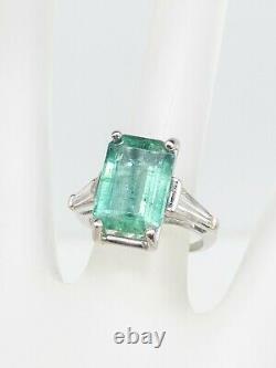 Antique 1940s $20,000 10ct Colombian Emerald Diamond Platinum Wedding Ring