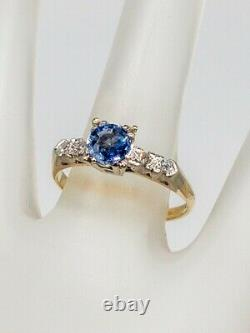 Antique 1940s $2000 1.15ct Natural Blue Sapphire Diamond 14k Yellow Gold Ring