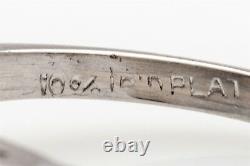 Antique 1940s 5.50ct Old Euro Natural Blue Zircon Diamond Platinum Ring