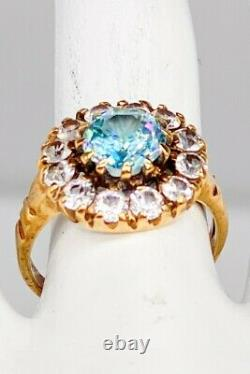 Antique 1940s 5ct Natural Blue Zircon White Sapphire 10k Yellow Gold HALO Ring