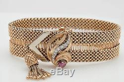 Antique 1940s Retro $10,000 1.33ct Natural Ruby Diamond BELT BUCKLE Bracelet 67g