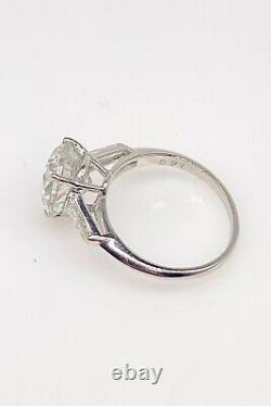 Antique 1950 $50,000 4.31ct Pear Cut Si2 H Natural Diamond Platinum Wedding Ring