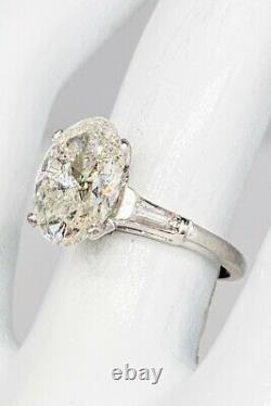 Antique 1950s $35,000 3.77ct OVAL CUT Natural Diamond Platinum Wedding Ring