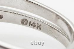 Antique 1950s $5000 1.25ct Pear Cut Diamond 14k White Gold Wedding Ring Set