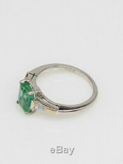 Antique 1950s $5000 2ct AAA+++ Colombian Emerald Diamond Platinum Wedding Ring
