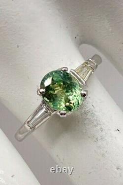 Antique 1950s $6000 1.50ct Natural Alexandrite Diamond Platinum Wedding Ring
