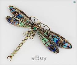 Antique 1950s Plique-à-jour 18K Enamel Diamond Emerald Ruby Dragonfly Brooch