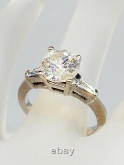 Antique 1960s $25,000 3ct Natural Round Brilliant Diamond 14k Gold Wedding Ring