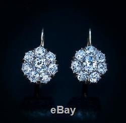 Antique 2.00 Cttw Diamond Gold Cluster Earrings