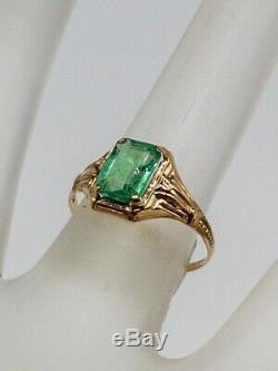 Antique $2400 1.50ct Colombian Emerald 10k Yellow Gold Ring