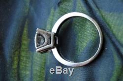 Antique 3/4 Carat Diamond Solitaire And Accent Ring 14k Wg Sz 6.5