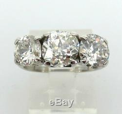 Antique 3.75ct Old Mine Cut Diamond Platinum 3 Stone Ring Size 6