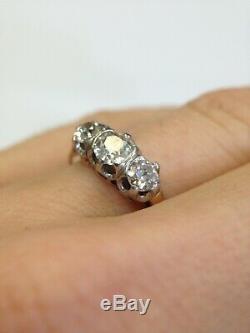 Antique 3 Stone 1CTW Mine Cut Diamond 18K Gold and Platinum Ring Size 5.5