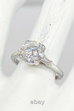 Antique $40,000 3.41ct Round Brilliant Natural Diamond Platinum Wedding Ring