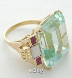 Antique Aquamarine Ruby Estate Ring 31.25 Ct Retro Vintage Reduced