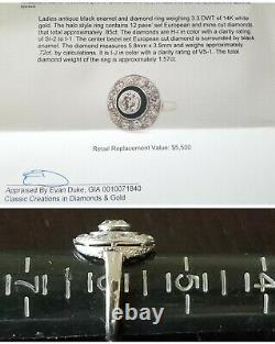 Antique Art Deco 1.57tcw Diamond Enamel Halo 14k Gold Ring-Estate Jewelry SZ 6