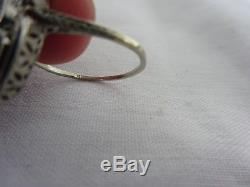 Antique Art Deco 14K Solid White Gold Filigree Sapphire & Diamond Ring Size 6.5