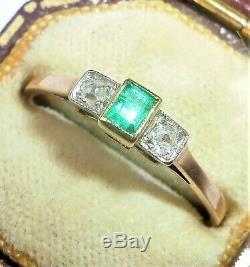 Antique Art Deco 14ct Rose Gold, Platinum, Emerald & Diamond Ring, Size Q