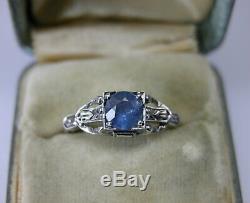 Antique Art Deco 14k Gold Sapphire Engagement Ring