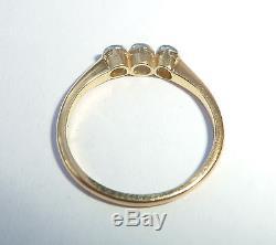 Antique Art Deco 18ct Gold Platinum & 0.25ct Diamond Three Stone Ring, Size J